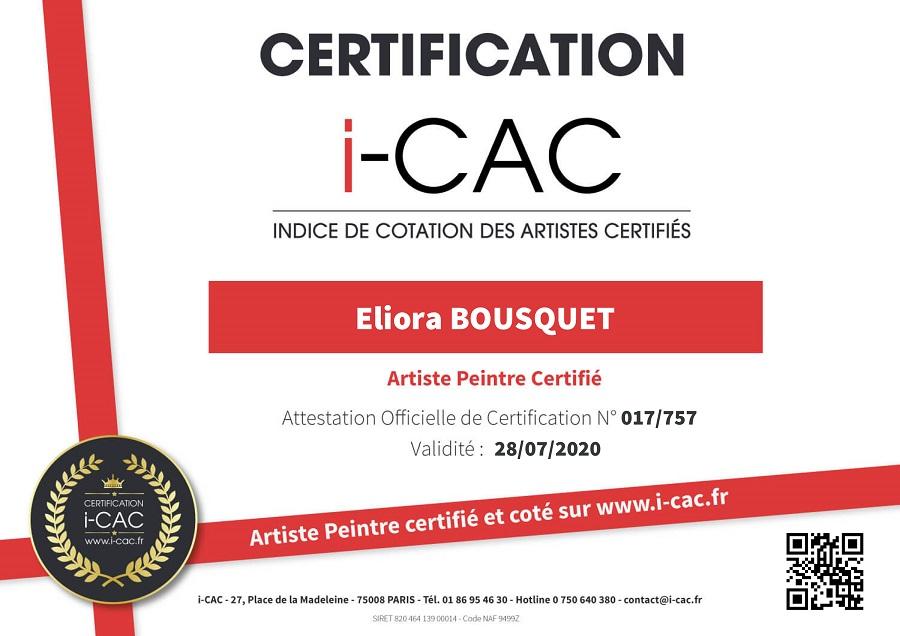 I-CAC quotation and professional certification - Art Eliora Bousquet
