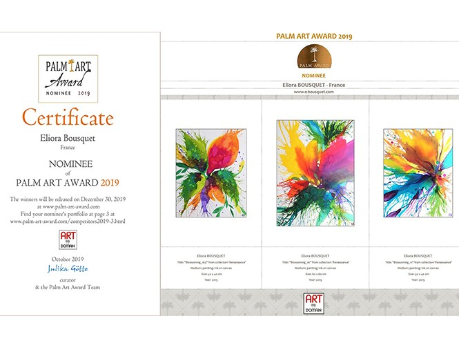 diplome eliora bousquet nominee palm art awards 2019