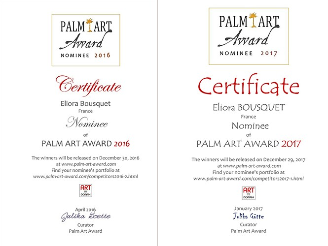 Nomination d eliora bousquet au palm art award 2016 et 2017